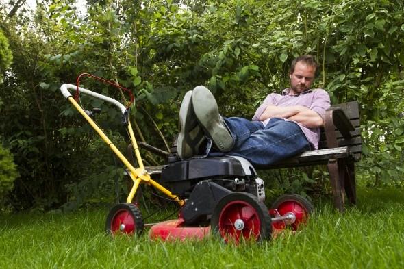 усташий дачник  с газонокосилкой