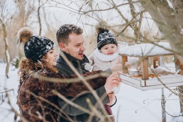 Семья в зимнем саду у кормушки