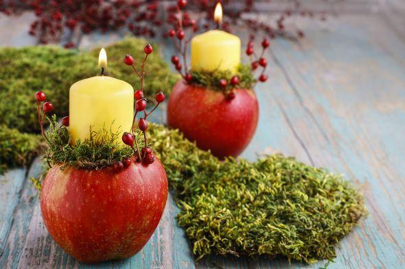 Подсвечники из яблок