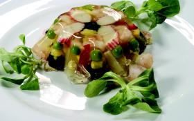 Желе из овощей с креветками