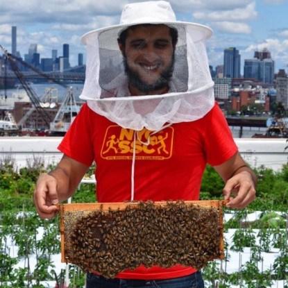пчеловод в Brooklyn Grange