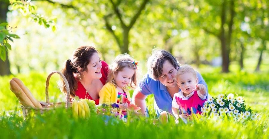 Молодая семья на пикнике